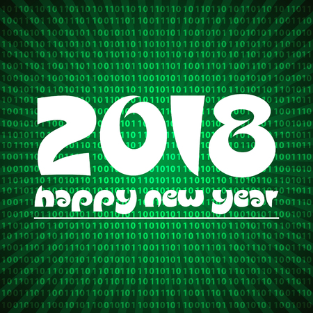 stripped: happy new year 2018 on green stripped binary code background eps10