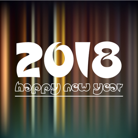 happy new year 2018 on dark color night lines background eps10