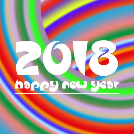 happy new year 2018 on curved colorful abstract stripped background eps10 Illustration