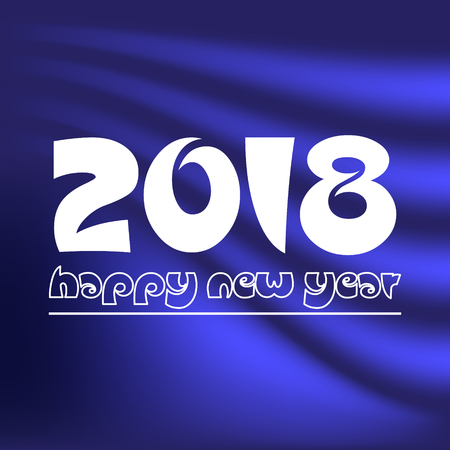 happy new year 2018 on dark blue abstract color background eps10