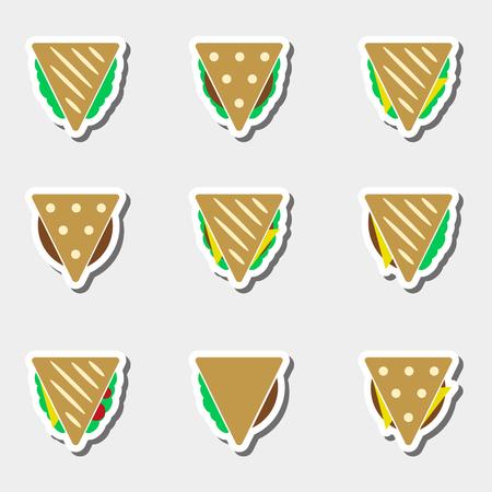 색깔의 옥수수 또는 샌드위치 타코의 집합 음식 스티커 세트 일러스트