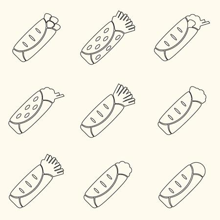 set of outline tortilla food icons set eps10 Иллюстрация