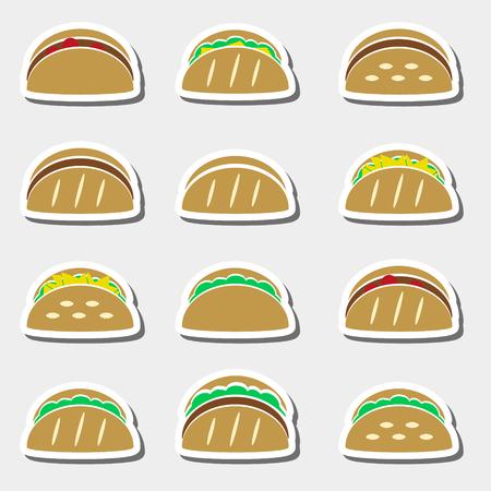 set of colored tortilla tacos food stickers set Иллюстрация