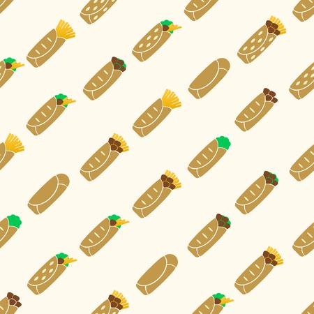 색상 토틸라 음식 원활한 패턴 eps10 집합
