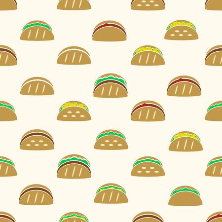 컬러 토틸라 타 코스 음식 아이콘 원활한 패턴 eps10 일러스트