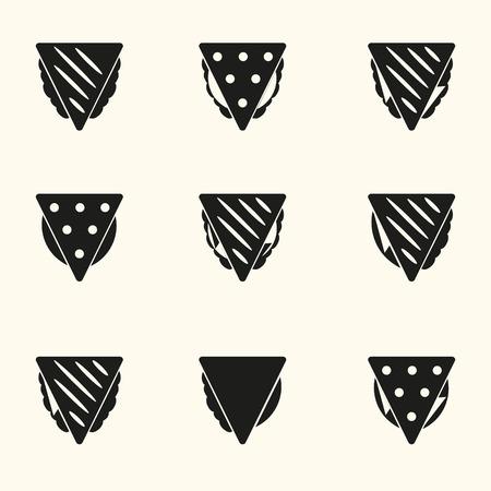 set of colored tortilla or sandwich tacos food icons set Иллюстрация