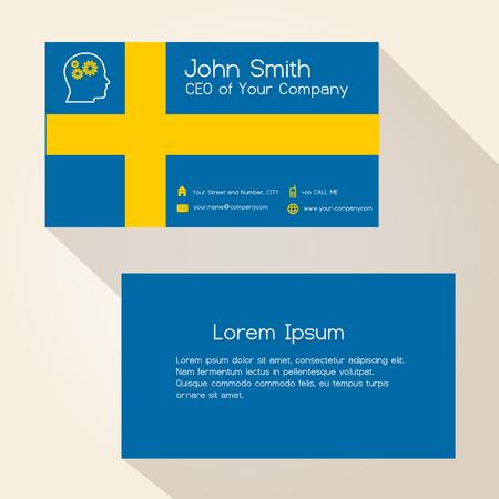 sweden flag color business card design eps10