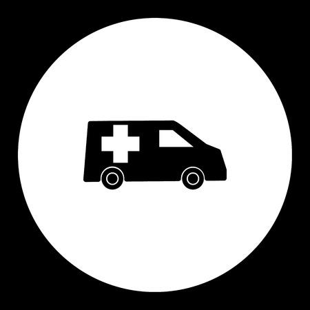 구급차 자동차 수송 간단한 검은 아이콘