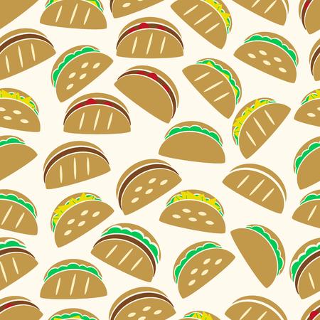 컬러 토틸라 타코 음식 아이콘 원활한 패턴 eps10 집합