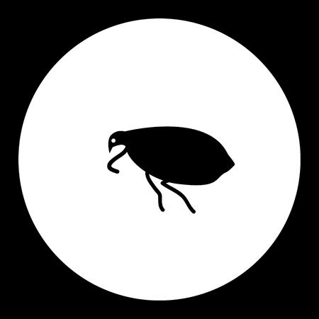 벼룩 곤충 간단한 검정 및 녹색 아이콘 eps10