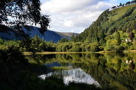 Glendalough lower lake and park in Ireland