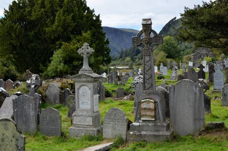 view at old Ireland cemetery and graves in Glendalough