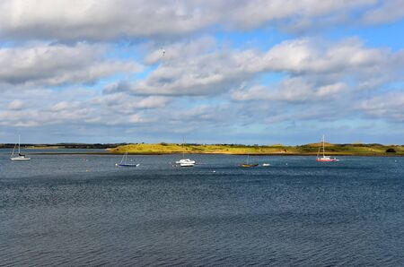 lot of small boats on the sea near Malahide city view Dublin Ireland 版權商用圖片