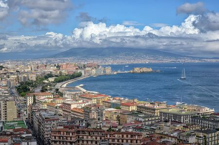 Naples bay with Vesuv summer landscape photography 版權商用圖片