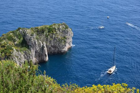small bay on Capri island in Italy view from hills