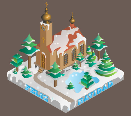 catholic mass: Church in winter time. Isometric view.Vector illustration.