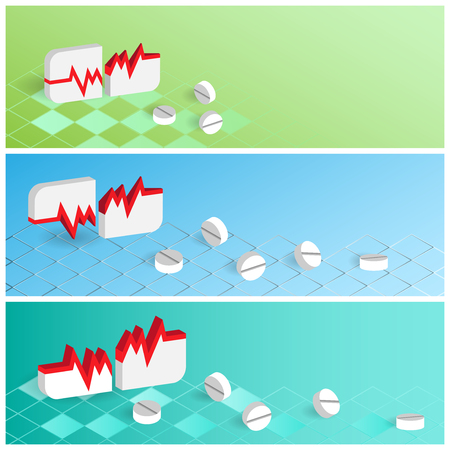 pharmaceuticals: Medicine and pharmaceuticals banners set. Vector illustration. Illustration