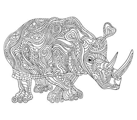 Hand getrokken vector illustratie met geometrische en florale elementen. Originele hand getrokken Rhinoceros. Stock Illustratie