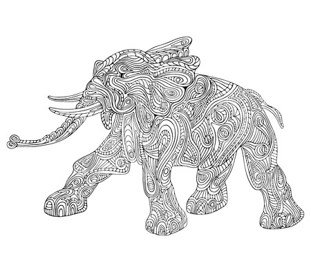 Hand drawn vector illustration with geometric and floral elements. Original hand drawn Elephant.