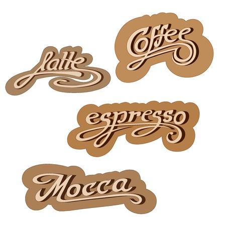 mocca: Original hand drawn illustration text: latte, mocha, espresso, coffee. Vector. Illustration