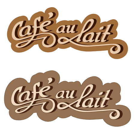 caf: Original hand drawn illustration text: Caf au lait.