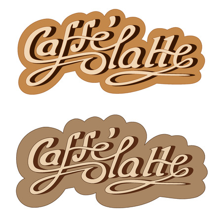 caffe: Original hand drawn illustration text: caffe latte. Vector.