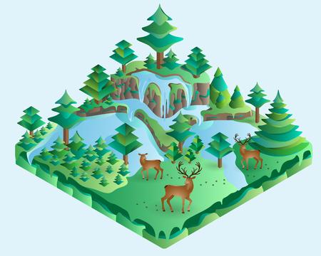 venado: 3D isométrico ilustración diseño del paisaje de la naturaleza con los bosques, colinas, rocas, cascada, abetos, ciervos, hindú, flores y prado. Vector.