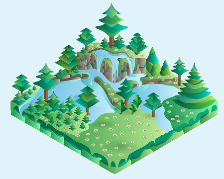 waterfall in forest: 3d isometric illustration design nature landscape with forest, hills, rocks, waterfall, Spruces, flowers and meadow. Vector.