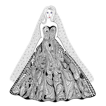Main vecteur illustration tirée avec des éléments géométriques et floraux. main originale dessinée belle mariée.