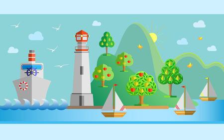 arboles frutales: ilustración plana paisaje de la naturaleza del diseño con el puerto, faro, vapor, barco de vela, gaviotas, sol, árboles frutales y el mar. ilustración.