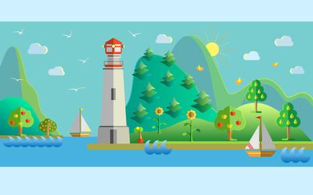 Piatto disegno della natura illustrazione del paesaggio con porto, il faro, barca a vela, gabbiani, sole, alberi da frutto e di mare. illustrazione.