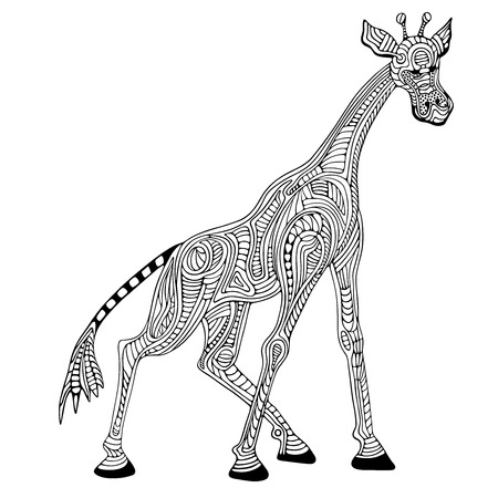 hand print: Giraffe illustration. Illustration
