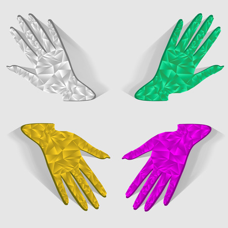 4 color printing: Four hands.