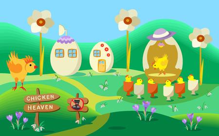 funy: Chicken heaven village. Vector cartoon illustration of a funy Easter landscape ..
