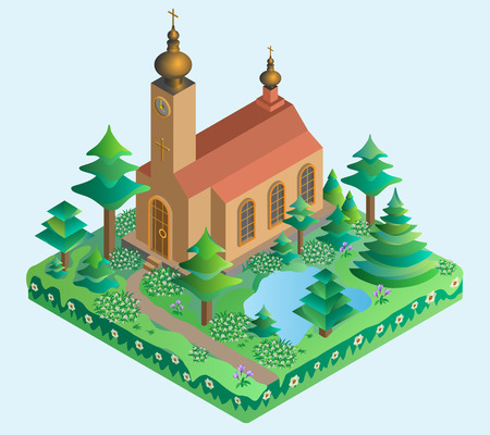 spring time: Church in spring time. Isometric view. Vector illustration.
