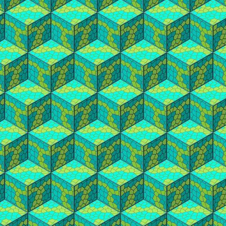 calculus: Organic isometric cube seamles pattern. illustration. Illustration