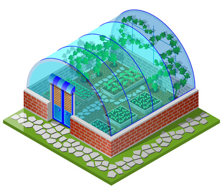 zucchini: Greenhouse seedling with spring vegetables (tomato, chilli, spinach, lettuce, radish, pumpkin, cucumber, zucchini and pepper). Isometric view. Vector illustration. Illustration