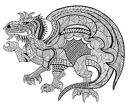 mandalas: Hand drawn vector illustration with geometric and floral elements. Original hand drawn Dragon. Illustration