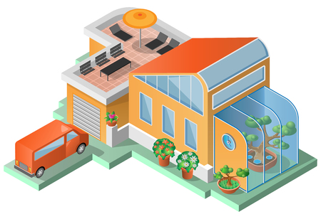 winter garden: House with terrace, winter garden and a van. Isometric view. Vector illustration. Illustration