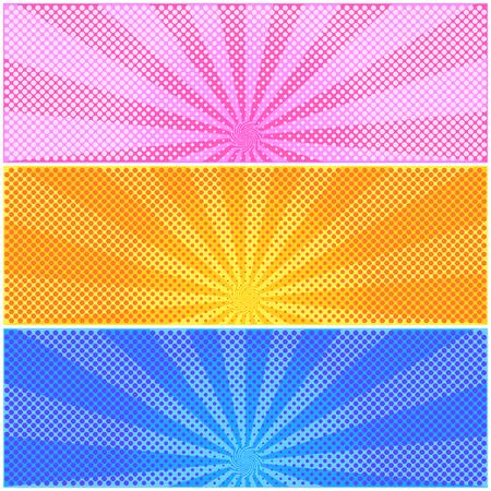 firmament: Set of halftone color background. Pattern design for banner, poster, brochure. Vector illustration.