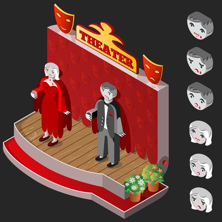 theater man: Vampire man and woman on theater stage. Heads with different facial expressions. Isometric icon set. Vector illustration.