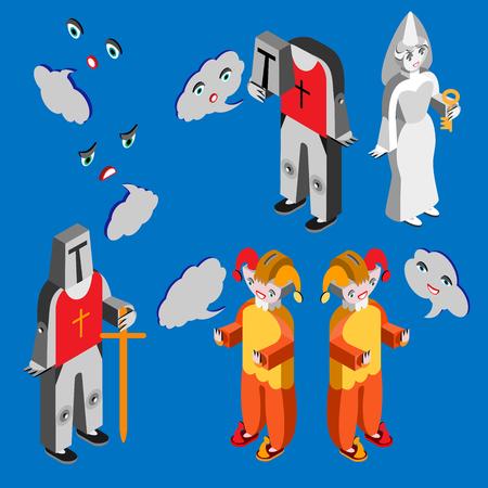 the spectre: speech bubble. Isometric icon set. Vector illustration. Vector illustration.