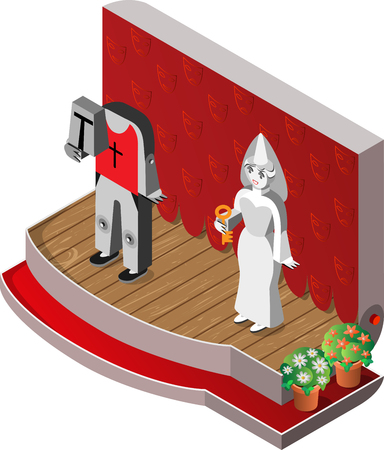 spectre: White Lady and headless knight on theater stage. Isometric view. Vector illustration. Illustration