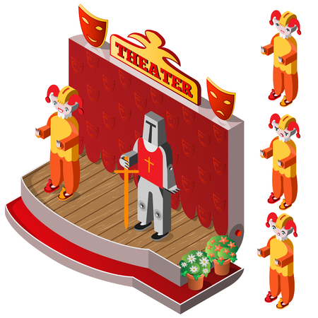 stage costume: ester and king on theater stage. Jester with different facial expressions. Isometric icon set. Vector illustration. Illustration