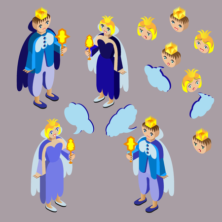 ire: King, queen, heads with different facial expressions and speech bubble. Isometric icon set. Vector illustration.