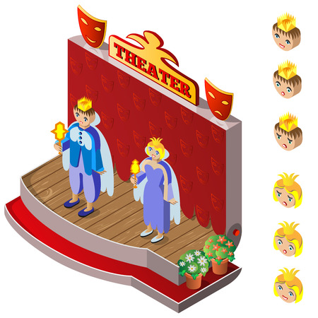 actor: King and Queen on theater stage. Heads with different facial expressions. Isometric icon set. Vector illustration. Illustration