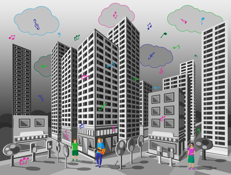 awnings: The singing city. Look at the gray city streets on Which its raining colorful musical notes. Illustration