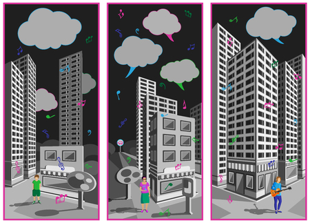 The singing city. A collection of three banners. Look at the gray city streets on Which its raining colorful musical notes. Çizim