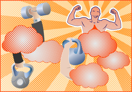 vigor: Fitness equipment with fitness mascot. Hands holding fitness equipment. Barbells, dumbbells and kettlebells. Design for a  poster, brochure and background. Pop art style. illustration.