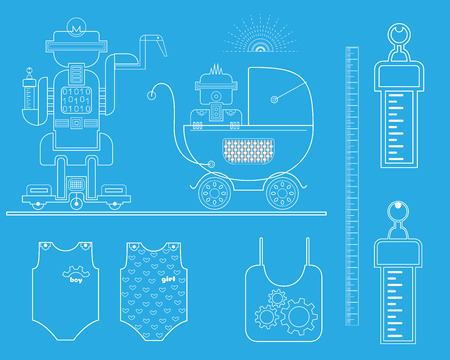 nursing clothes: A robot with a robot baby in a stroller. Line Icon Set. illustration.